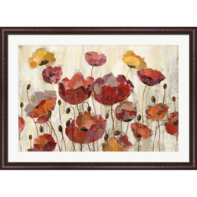 Metaverse Art Poppies In The Rain Framed Print Wall Art