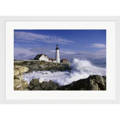 Metaverse Art Portland Head Lighthouse USA Cape Elizabeth Maine  USA Framed Print Wall Art