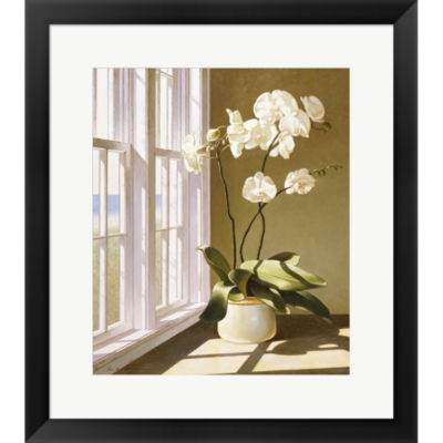 Metaverse Art Pot Of Orchids Framed Print Wall Art