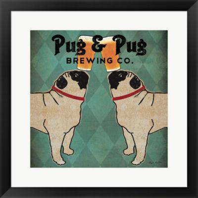 Metaverse Art Pug And Pug Brewing Square Framed Print Wall Art