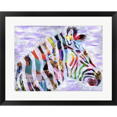 Metaverse Art Purple Zebra Framed Print Wall Art