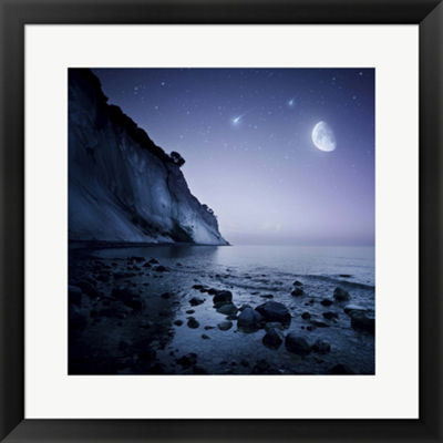 Metaverse Art Rising Moon Over Ocean And MountainsAgainst Starry Sky Framed Print Wall Art