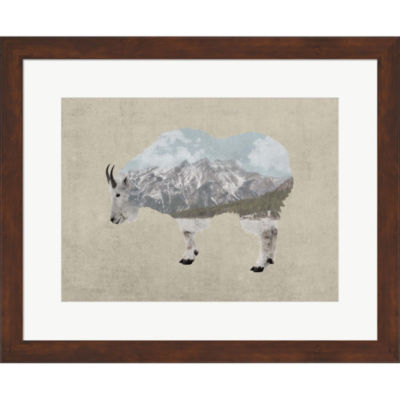 Metaverse Art Rocky Mountain Goat Framed Print Wall Art