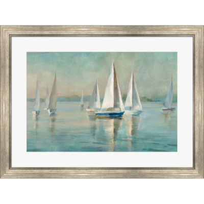 Metaverse Art Sailboats At Sunrise Framed Print Wall Art