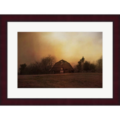 Metaverse Art The Old Barn On A Fall Evening Framed Print Wall Art