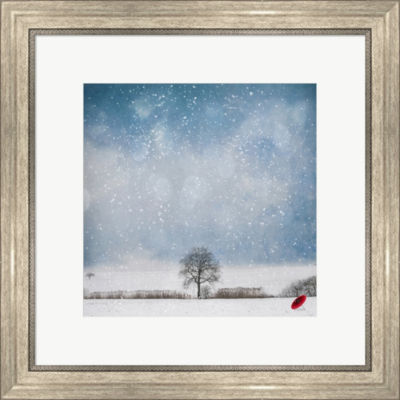 Metaverse Art The Red Umbrella Framed Print Wall Art