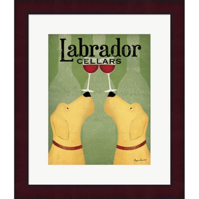 Metaverse Art Two Labrador Wine Dogs Framed PrintWall Art