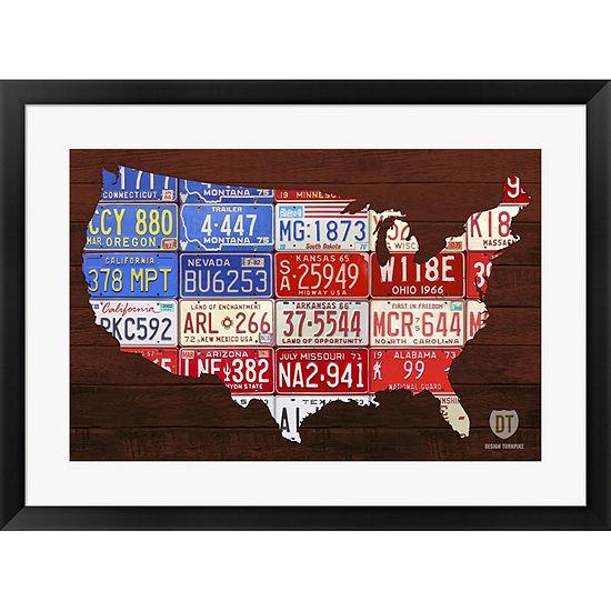 Metaverse Art USA Flag Map Framed Print Wall Art