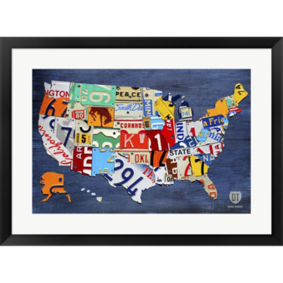 Metaverse Art USA Map II Framed Print Wall Art