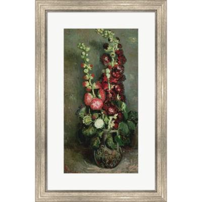 Metaverse Art Vase Of Hollyhocks 1886 Framed PrintWall Art
