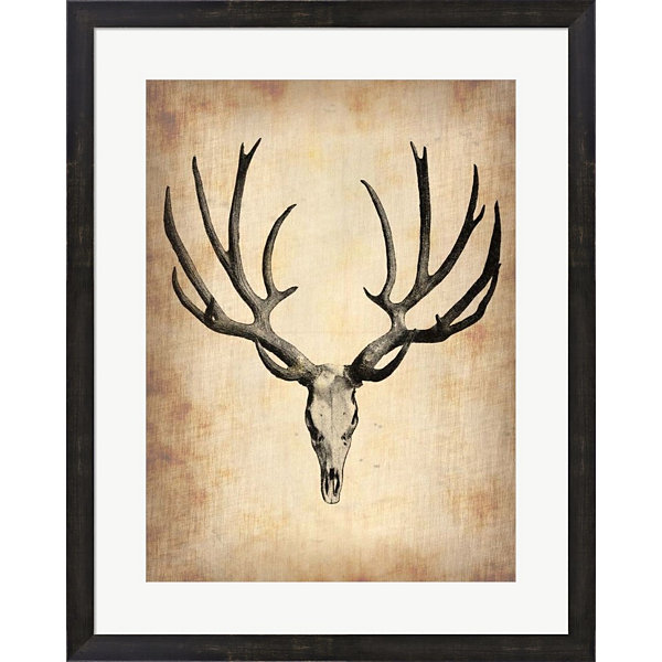 Metaverse Art Vintage Deer Scull Framed Print WallArt
