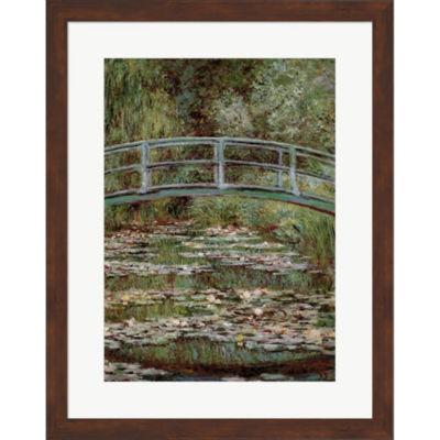 Metaverse Art Waterlily Pond Japanese Bridge Framed Print Wall Art