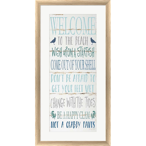 Metaverse Art Welcome To The Beach Framed Print Wall Art
