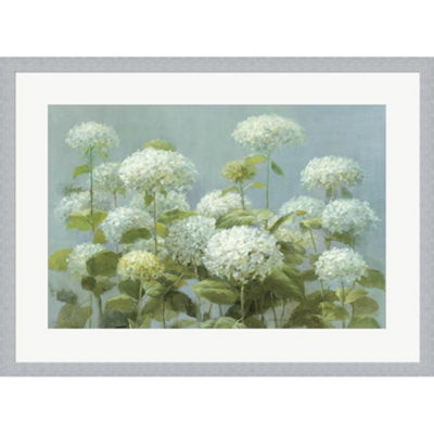 Metaverse Art White Hydrangea Garden Framed PrintWall Art