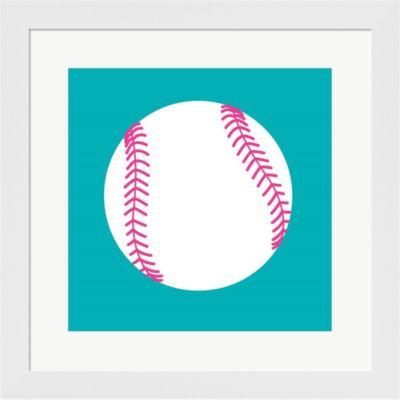 Metaverse Art White Softball On Teal Framed PrintWall Art