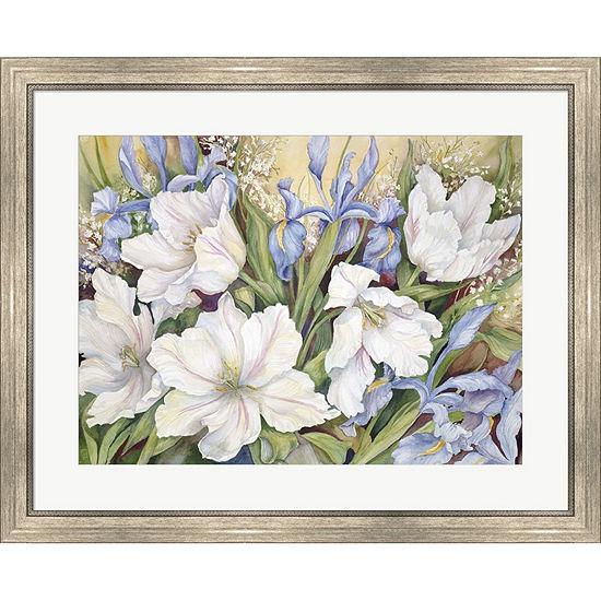 Metaverse Art White Tulips/ Blue Iris Framed PrintWall Art