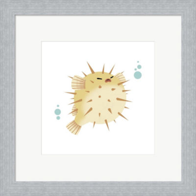 Metaverse Art Sea Creatures - Pufferfish Framed Print Wall Art