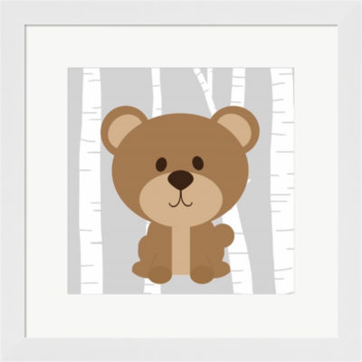 Metaverse Art Woodland Bear Framed Print Wall Art