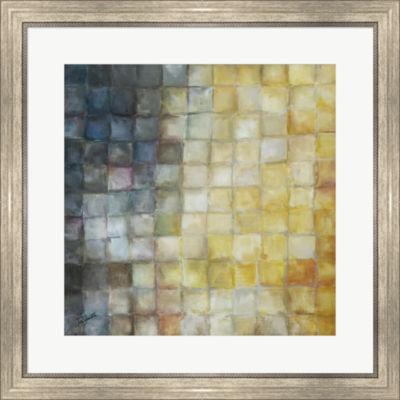 Metaverse Art Yellow Gray Mosaics I Framed Print Wall Art