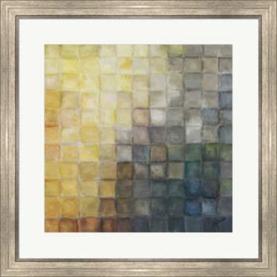 Metaverse Art Yellow Gray Mosaics II Framed PrintWall Art