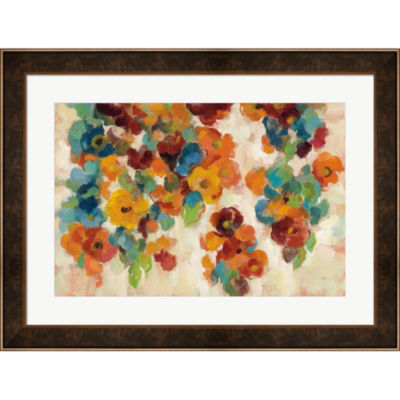 Metaverse Art Spice And Turquoise Florals Framed Print Wall Art
