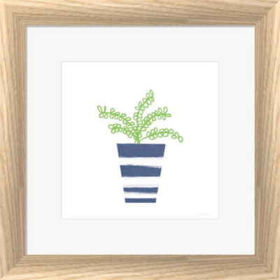 Metaverse Art Striped Pot I Framed Print Wall Art
