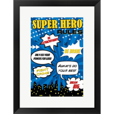 Metaverse Art Superhero Rules Framed Print Wall Art