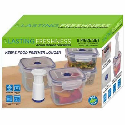Lasting Freshness 9-piece Vacuum Food Storage Containers, Rectangular