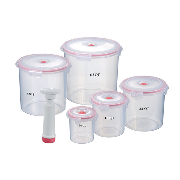 Lasting Freshness 11-piece Vacuum Food Storage Containers, Round