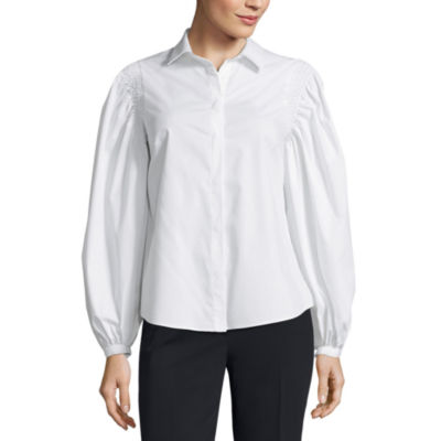 Worthington Smocked Shoulder Button Front Shirt