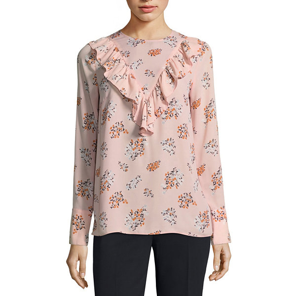 Worthington Long Sleeve Crew Neck Georgette Floral Blouse