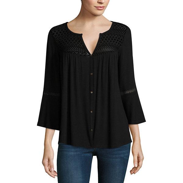Liz Claiborne 3 4 Sleeve V Neck T Shirt Womens Jcpenney