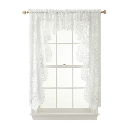 JCPenney Home Shari 2-Pack Lace Rod-Pocket Cascade Valance, One Size , White