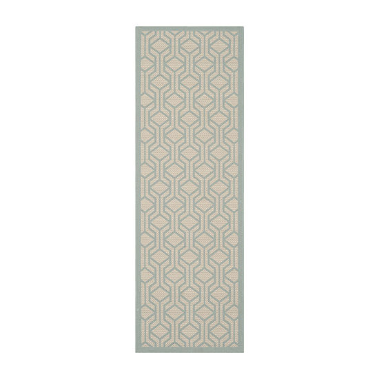 Safavieh Courtyard Collection Jack Geometric Indoor/Outdoor Runner Rug