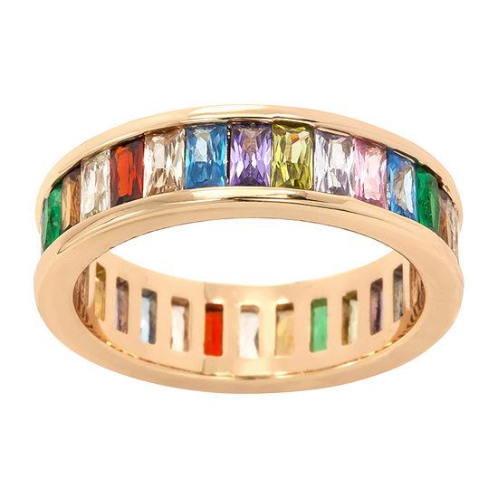 Sparkle Allure Multi Color Cubic Zirconia 14K Gold Over Brass