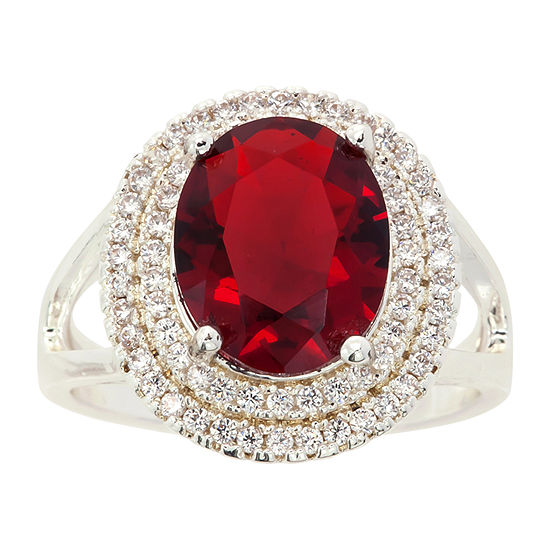 Sparkle Allure Red Cubic Zirconia Pure Silver Over Brass