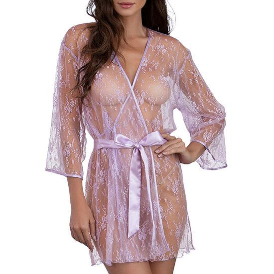 Dreamgirl Womens Lace Kimono Robes 3/4 Sleeve Knee Length