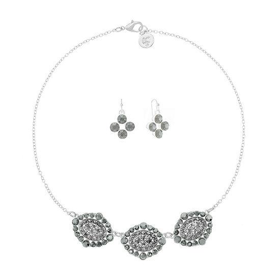 Liz Claiborne Gray Silver Tone Oval 2-pc. Jewelry Set