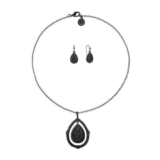 Liz Claiborne 2-pc. Black Pear Jewelry Set
