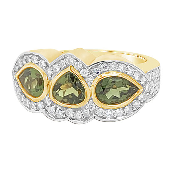LIMITED QUANTITIES! Le Vian Grand Sample Sale™ Ring featuring Hunters Green Tourmaline™ Vanilla Diamonds® set in 14K Honey Gold™