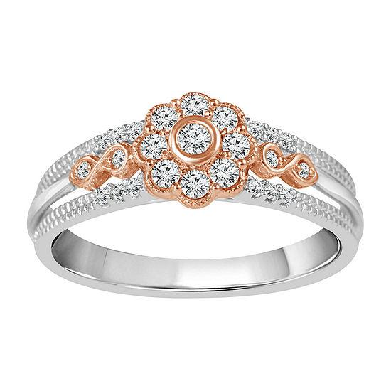 Womens 1/4 CT. T.W. Genuine White Diamond 10K Rose Gold Promise Ring
