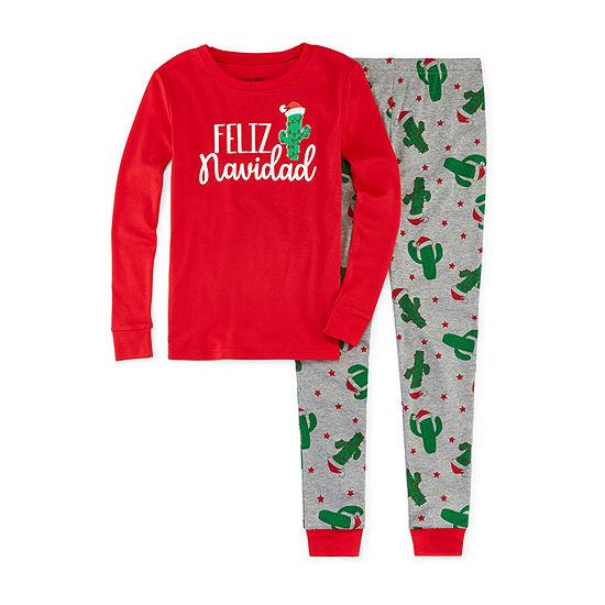 Secret Santa Feliz Navidad Family Little & Big Unisex 2-pc. Pant Pajama Set