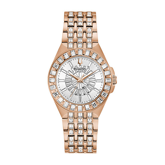 Bulova Phantom Womens Crystal Accent Rose Goldtone Stainless Steel Bracelet Watch - 98l268