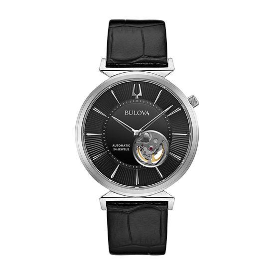 Bulova Mens Black Automatic Strap Watch-96a234