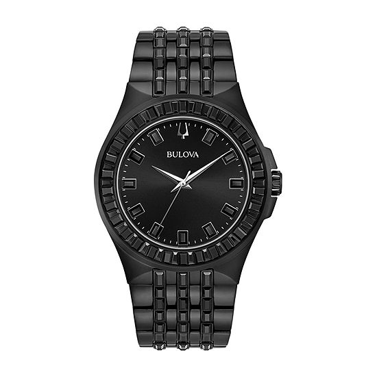 Bulova Phantom Mens Crystal Accent Black Stainless Steel Bracelet Watch-98a240