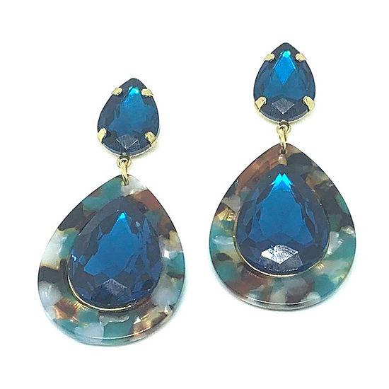 Bijoux Bar Blue Crystal Drop Earrings