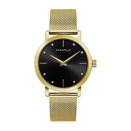 Caravelle Designed By Bulova Womens Yellow Stainless Steel Bracelet Watch-44l256