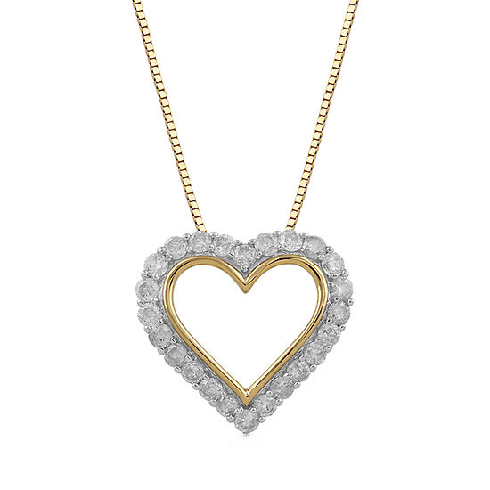 Womens 1/2 CT. T.W. Genuine Diamond 10K Gold Pendant Necklace