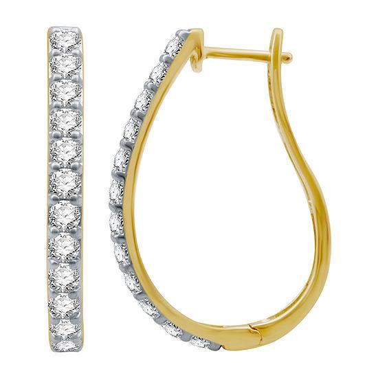 2 CT. T.W. Genuine Diamond 10K Gold 30.2mm Hoop Earrings