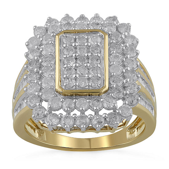 Womens 2 CT. T.W. Genuine Diamond 10K Gold Cocktail Ring